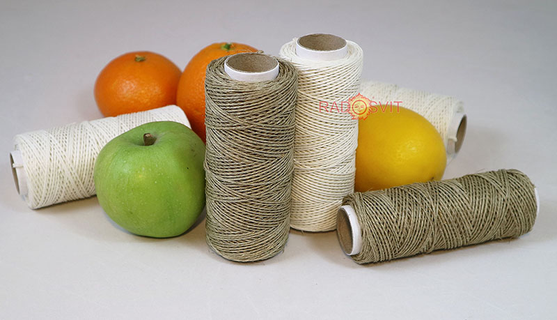 polished linen twine - composition with orange, lemon, apple - natural twines made by Radosvit