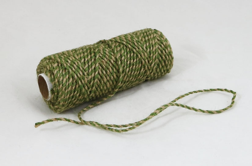 Jute cord natural-green, 50 meters - 1