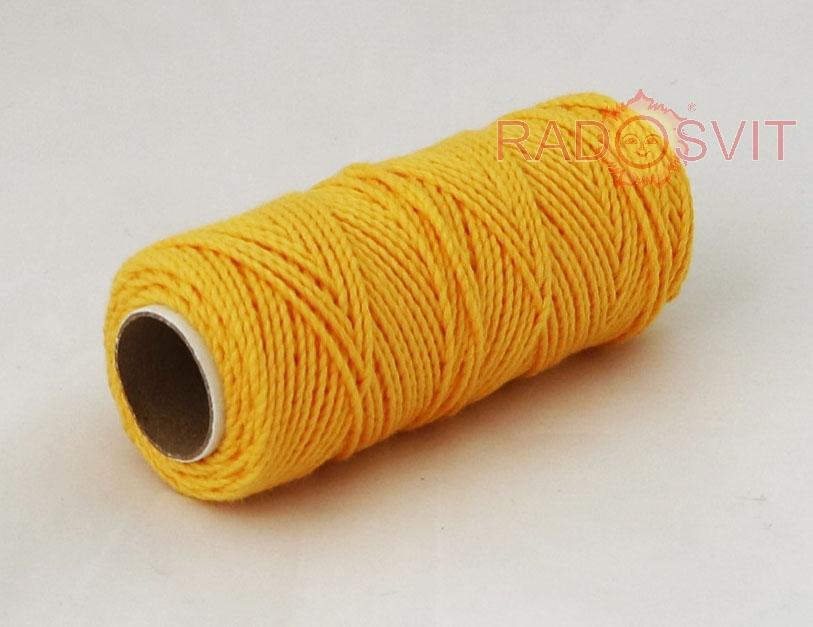 Шпагат бавовняний кольоровий - тепло-жовтий, 45 метрів - 2