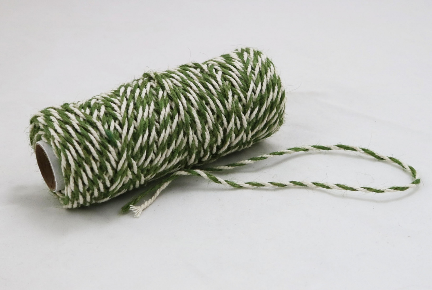 Jute+cotton cord, green-white color, 50 meters - 2