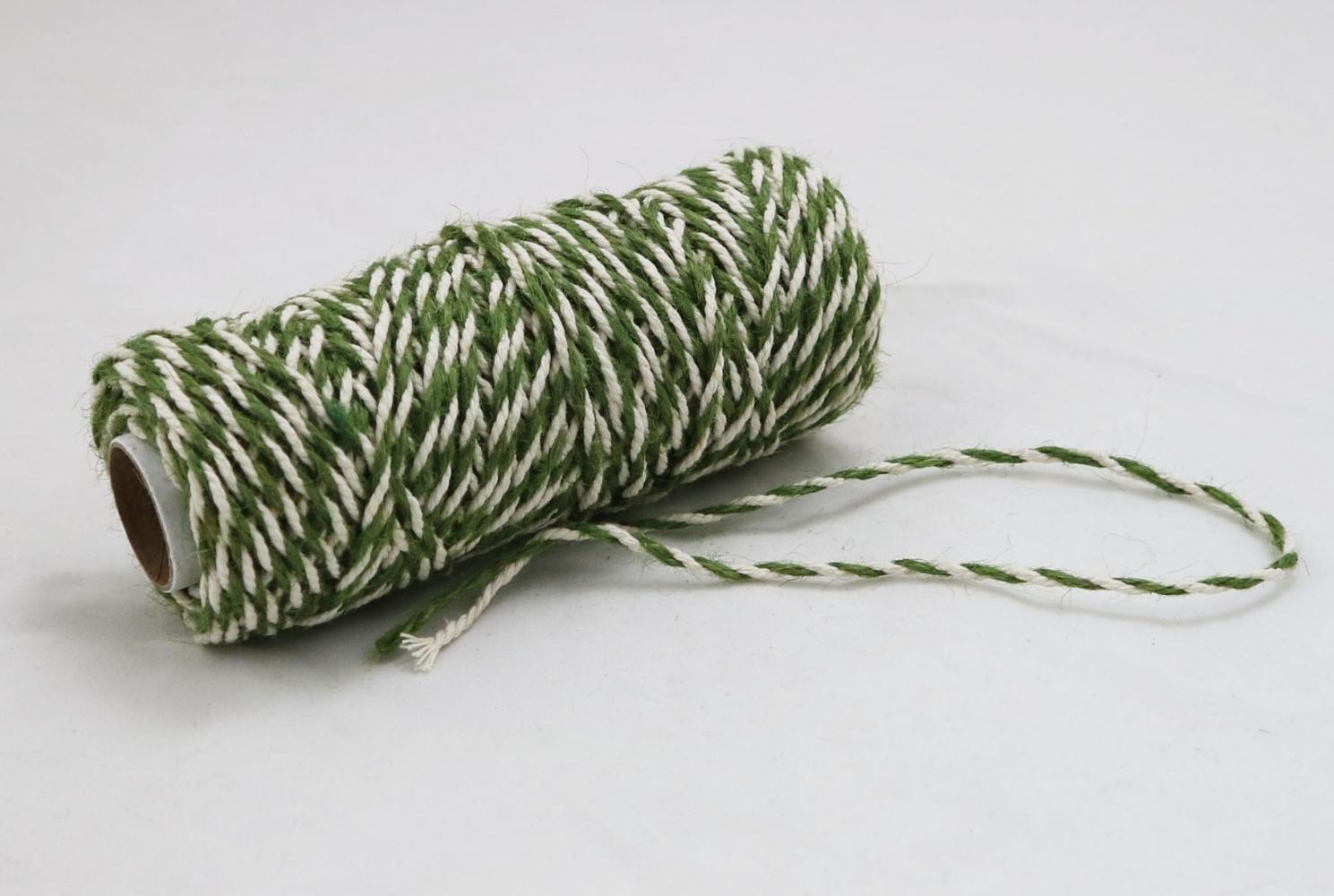 Шнур джут-бавовна зелений-білий, 50 метрів - 2