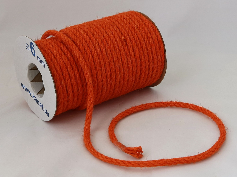 Jute rope in orange color, diameter  6mm, coil 25 meters - 1