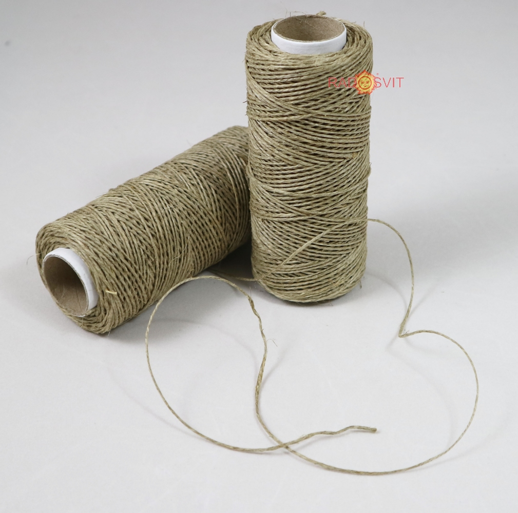 Polished linen twine, natural color, 100 meters - 1