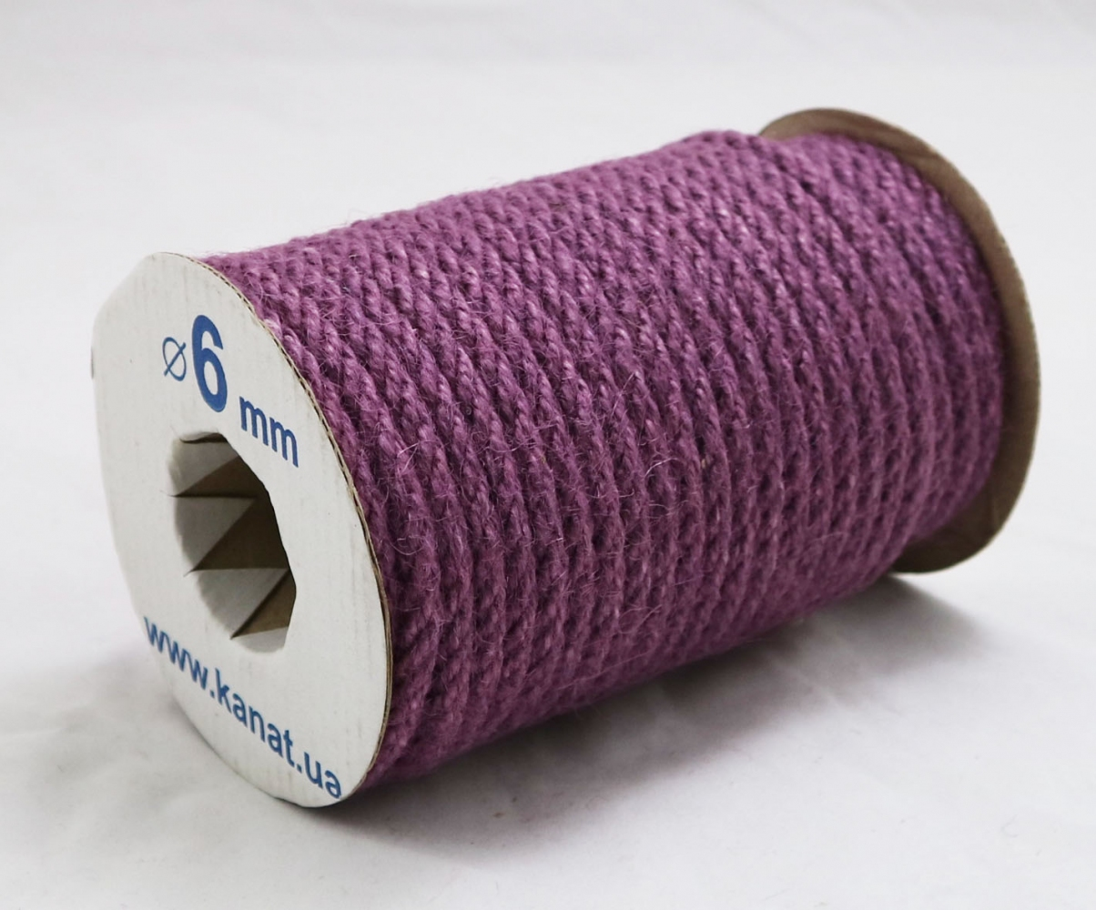Jute rope purple, diameter 6mm, 25 meters - 1