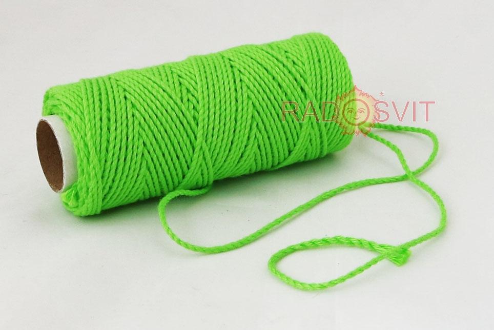 Шпагат бавовняний кольоровий - зелений, 45 метрів - 1