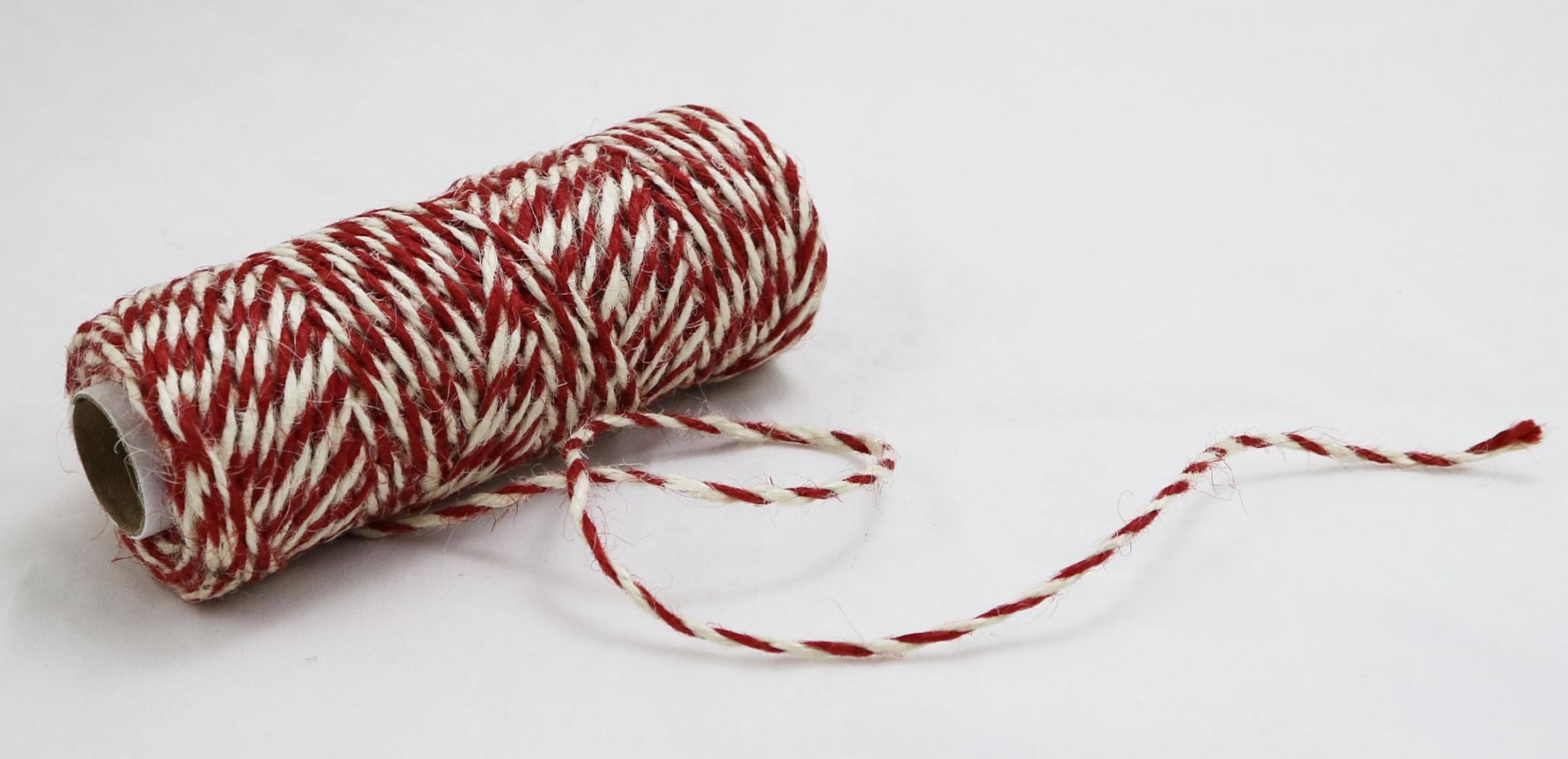 Шнур джутовий кручений біло-червоний, 50 метрів - 2