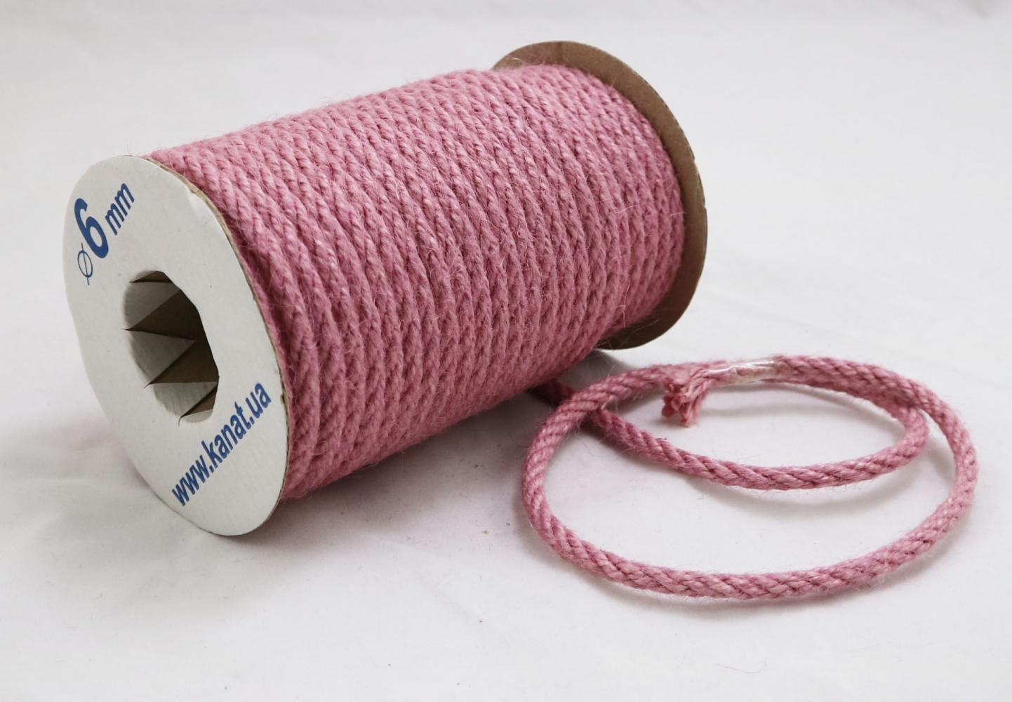 Jute rope sweet powder color, diameter 6mm, 25 meters - 2
