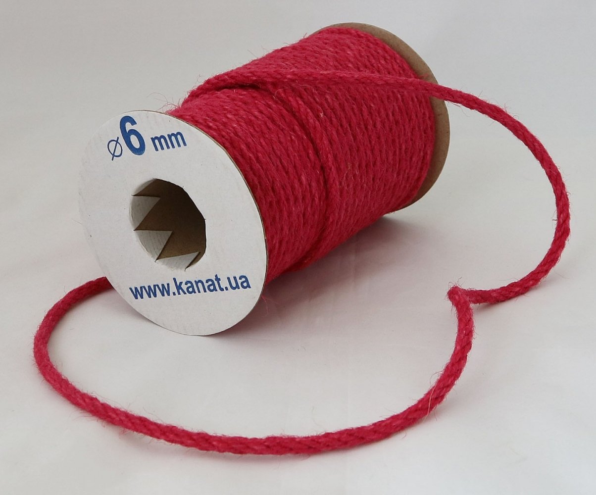 Jute rope rose color, diameter 6mm, 25 meters coil - 1