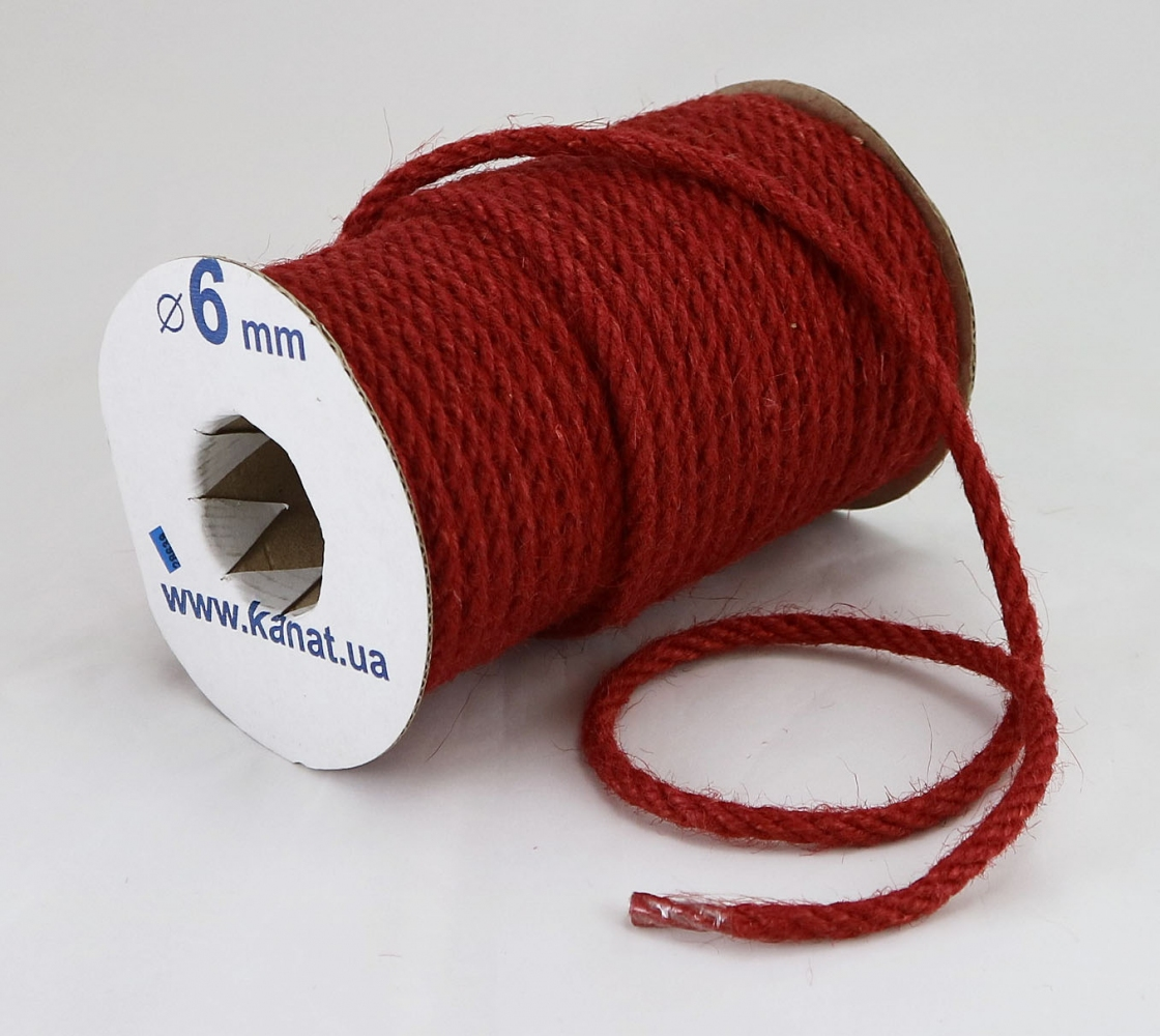 Jute rope, red color, diameter 6mm, 25 meters - 1