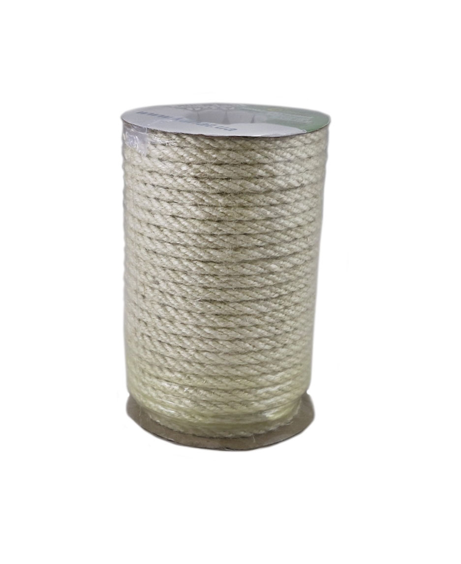 Bleached jute rope, diameter 6mm, coil 25 meters - 1