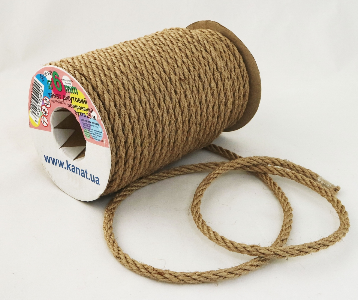 Jute polished rope, diameter 6mm, 25 meters - 1