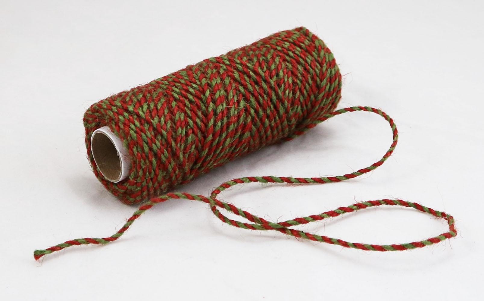 Шнур джутовий червоно-зелений, 50 метрів - 1