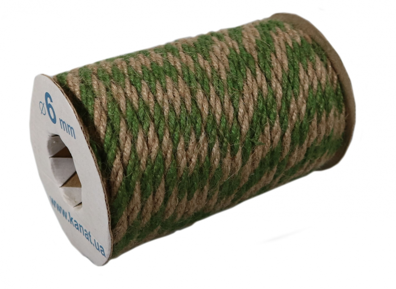 Jute rope natural-green, diameter 6mm, step of color 2+2, 25 meters - 1