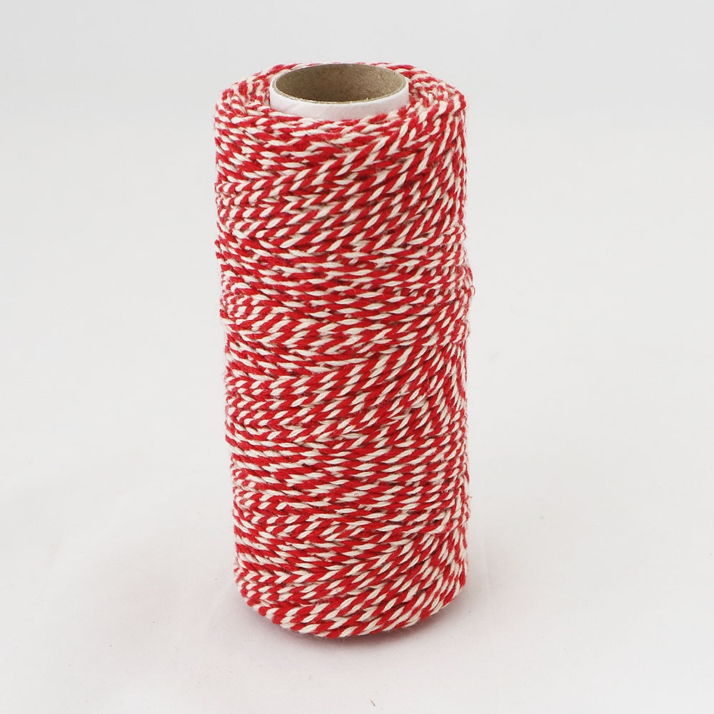 Cotton twine, red-white, 100 meters - 3