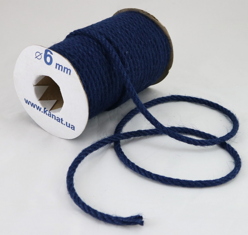 Jute rope, blue color, diameter 6mm, 25 meters - 1