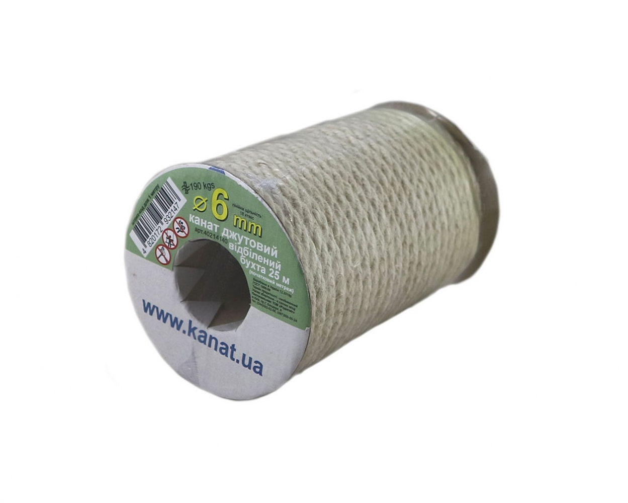 Bleached jute rope, diameter 6mm, coil 25 meters - 2
