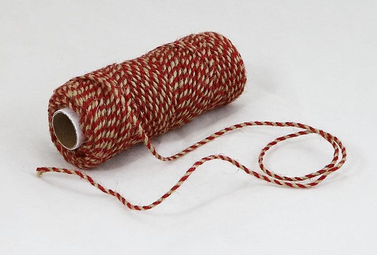 Шнур джутовий кручений натуральний-червоний, 50 метрів - 1