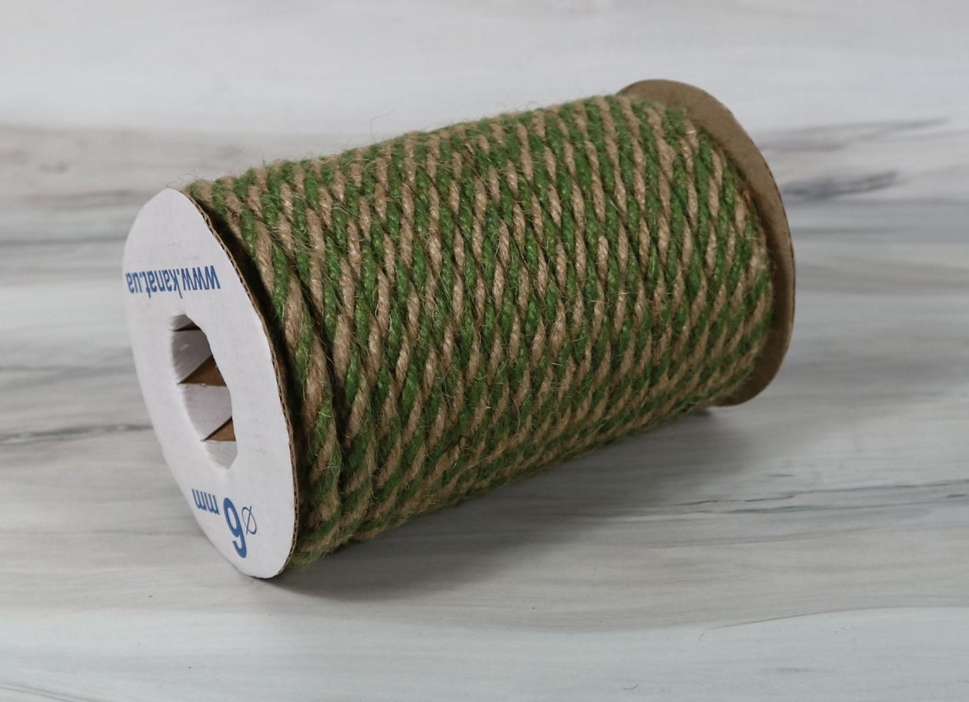 Jute rope natural-green, diameter 6mm, step of color 1+1+1+1, 25 meters - 1