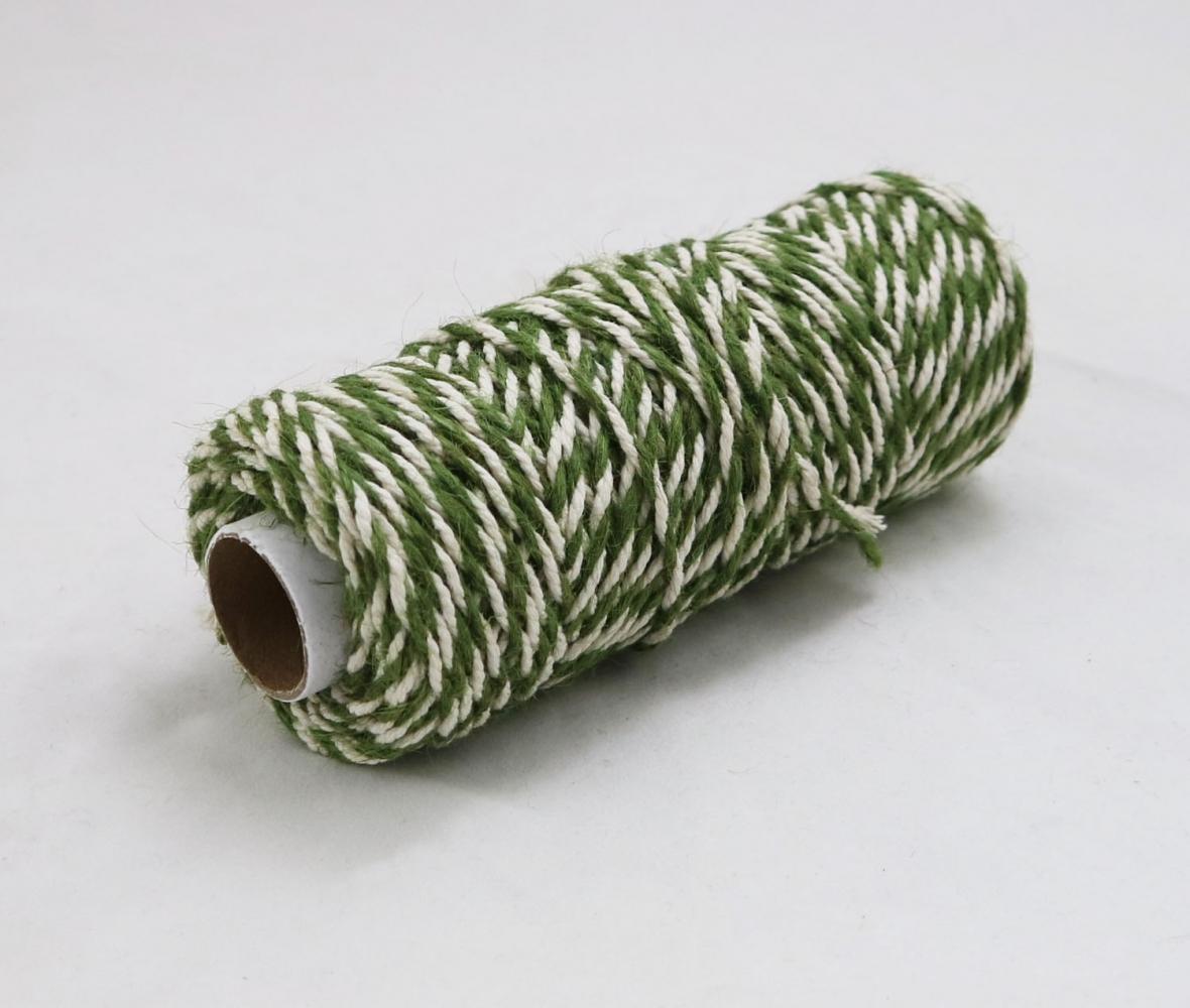 Шнур джут-бавовна зелений-білий, 50 метрів - 1