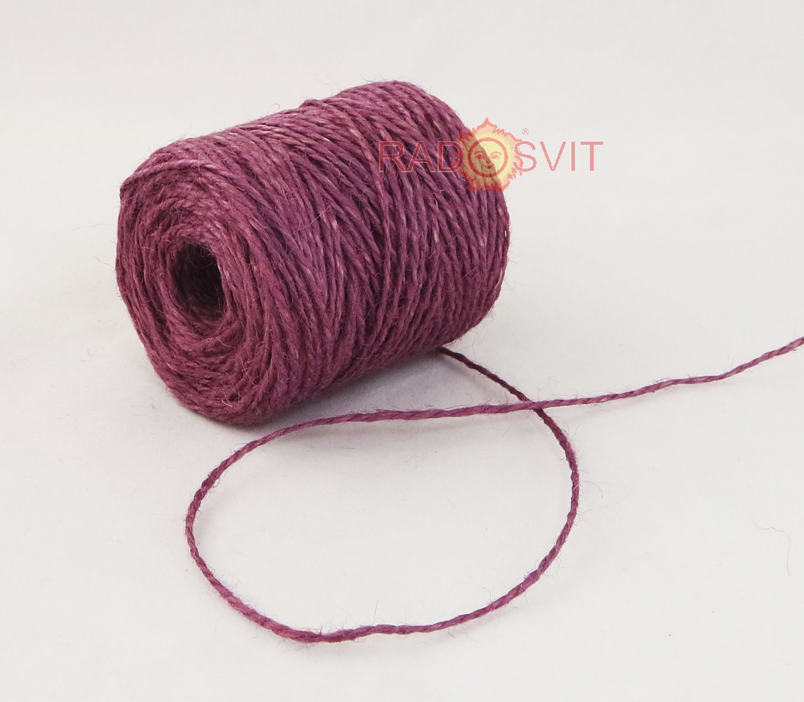 Jute twine in light purple color, 90 meters - 2