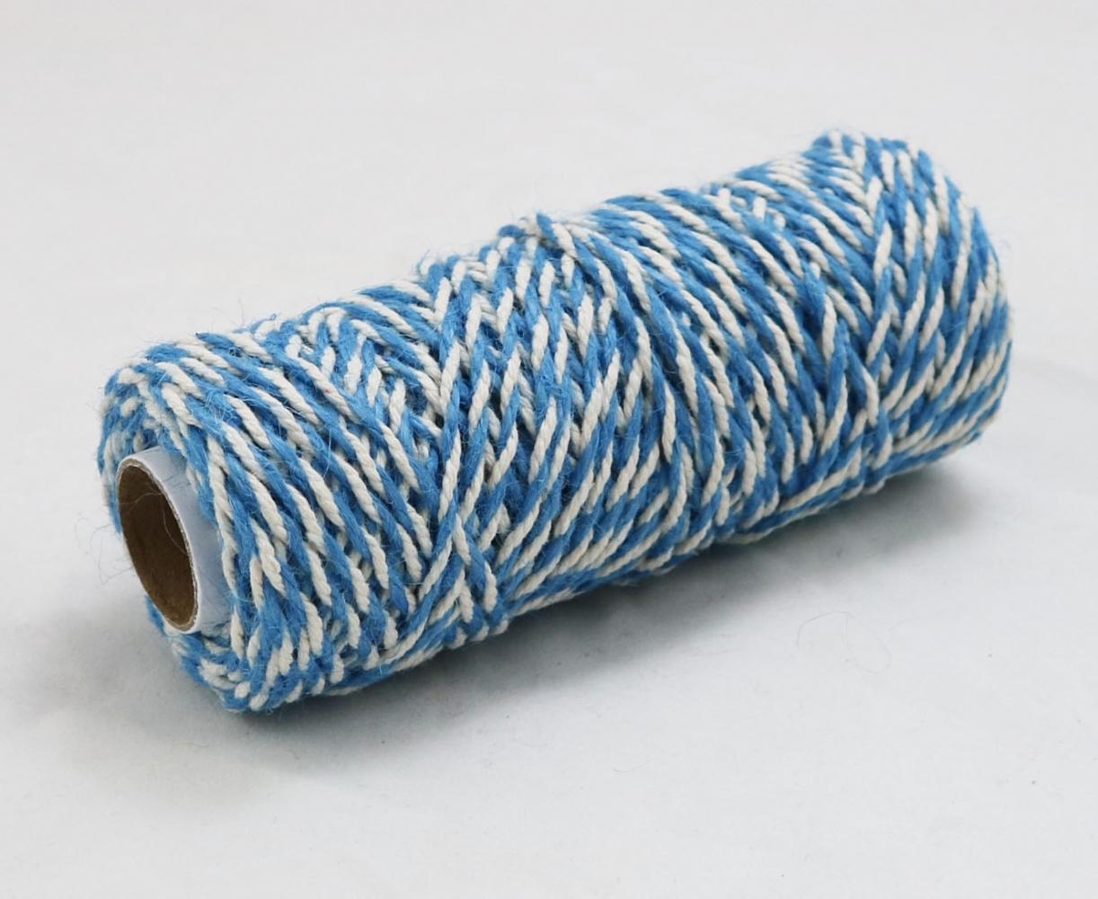 Шнур джут-бавовна блакитно-білий, 50 метрів - 1