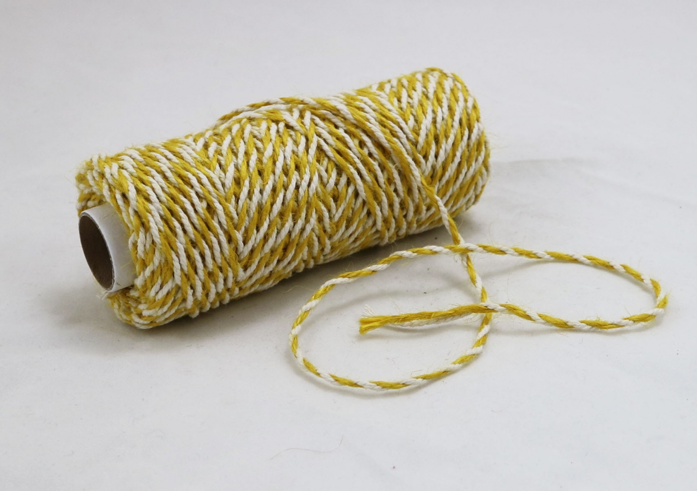 Jute+cotton cord, yellow-white color, 50 meters - 2
