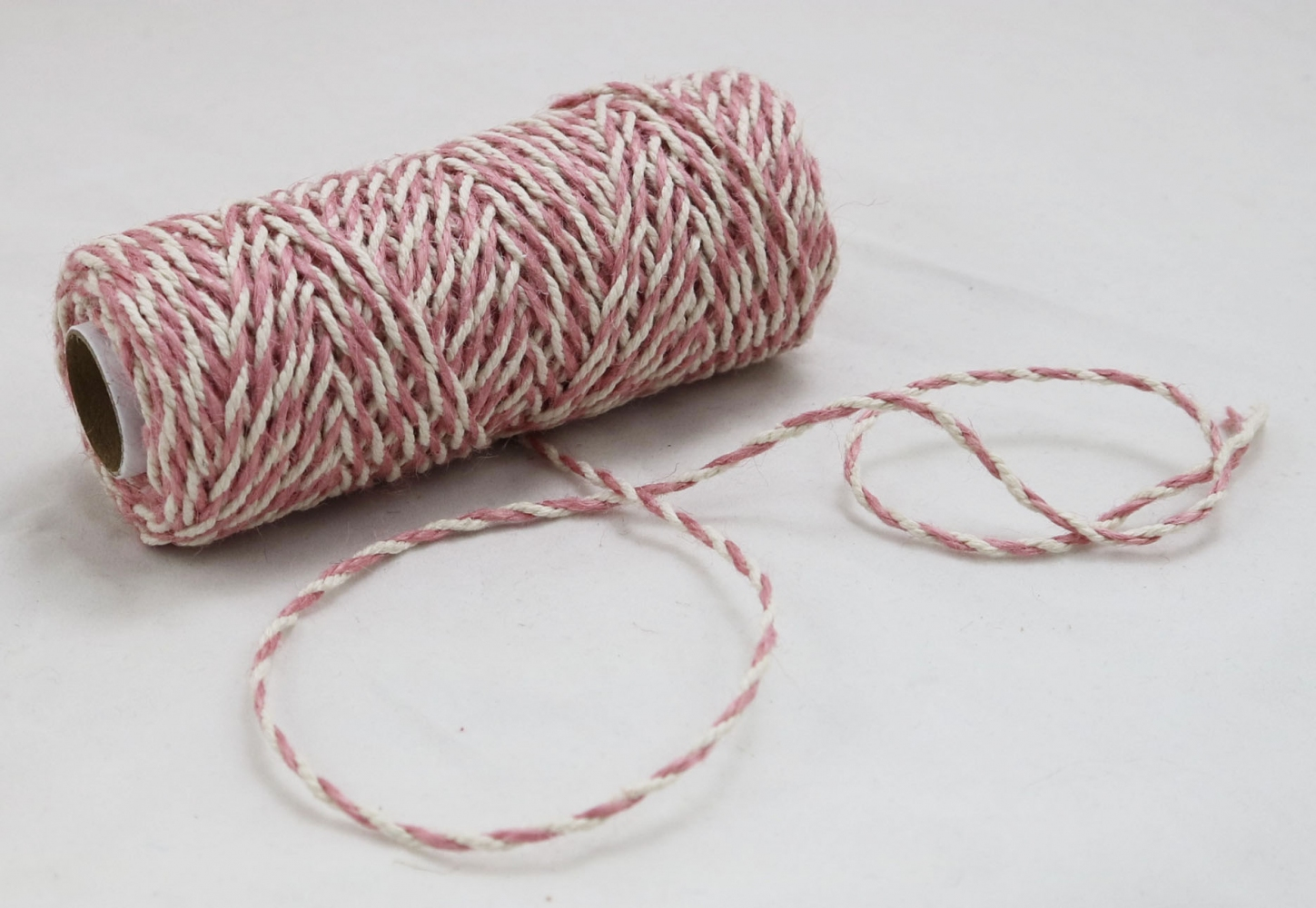 Jute+cotton cord, sweet powder-white color, 50 meters - 2