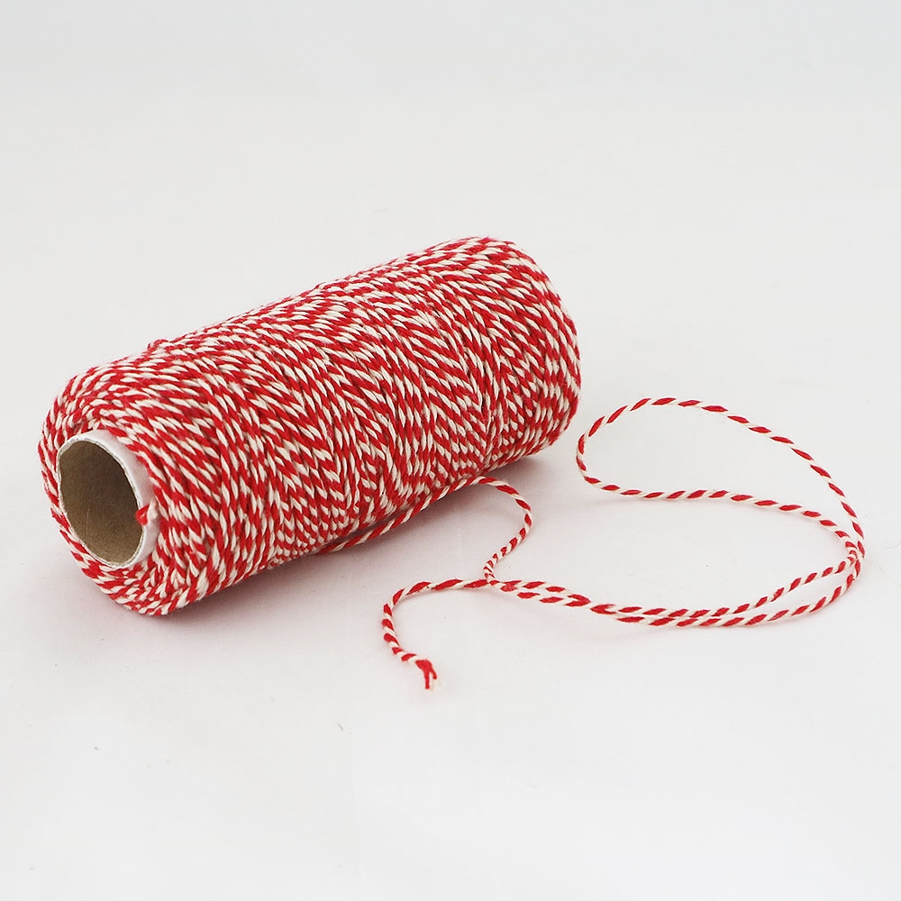 Cotton twine, red-white, 100 meters - 2