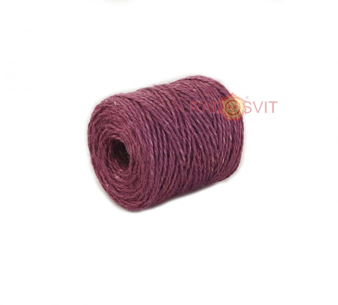 Jute twine in light purple color, 90 meters - 1