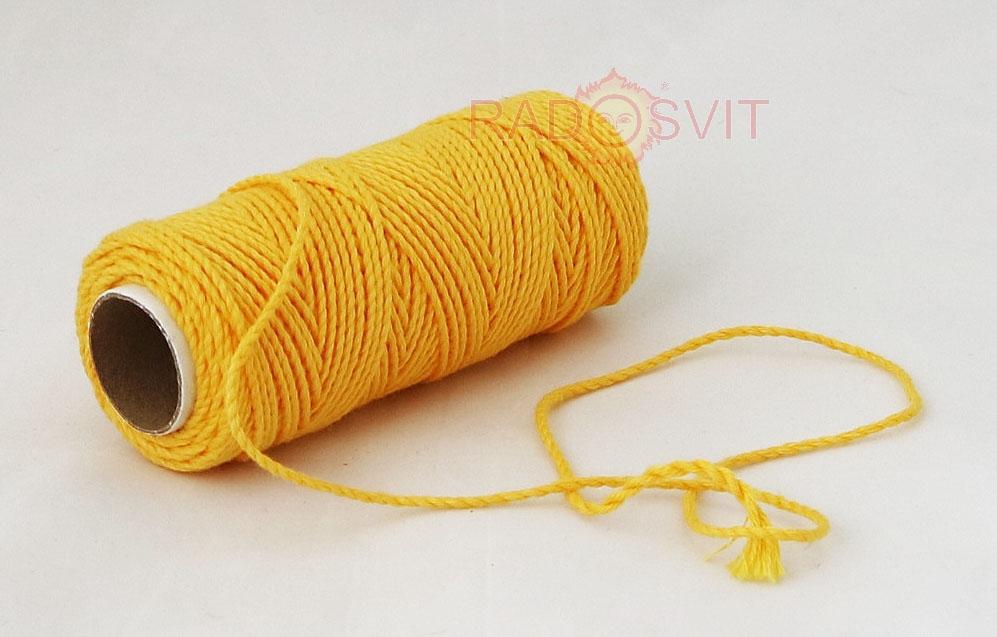 Шпагат бавовняний кольоровий - тепло-жовтий, 45 метрів - 1
