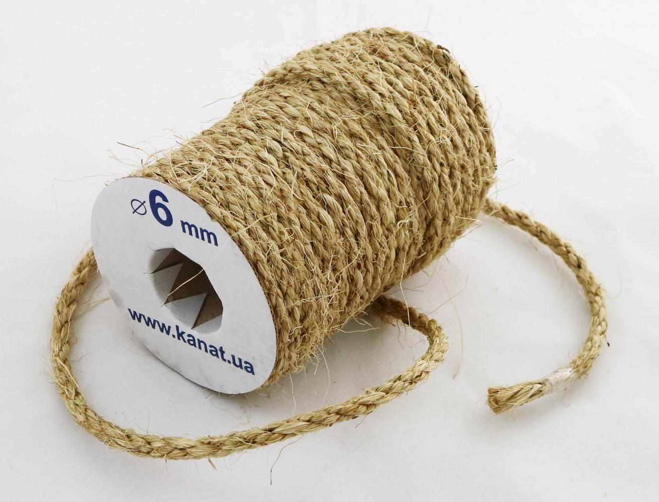 Мотузка сизальова Ø 6мм, бухта 25 метрів - 1