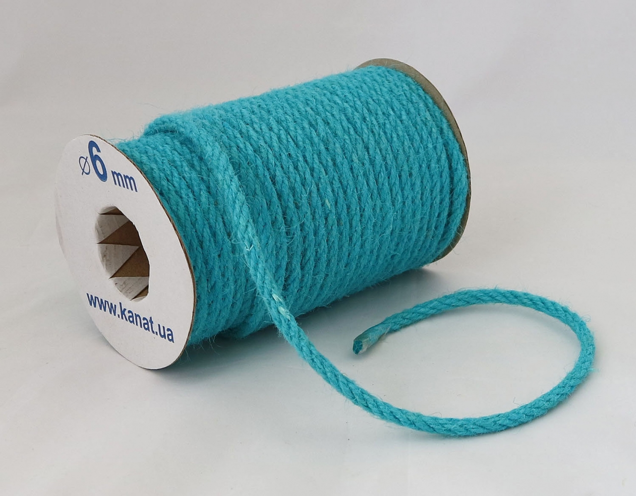 Jute rope, light blue color, diameter 6mm, coil 25 meters - 1