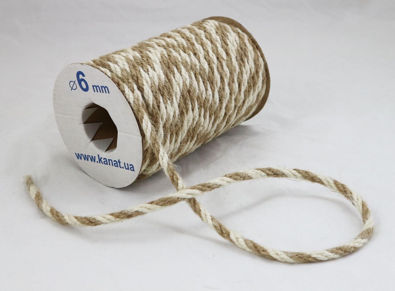 Jute rope natural-white, color 2/2, diameter 6mm, 25 meters - 1