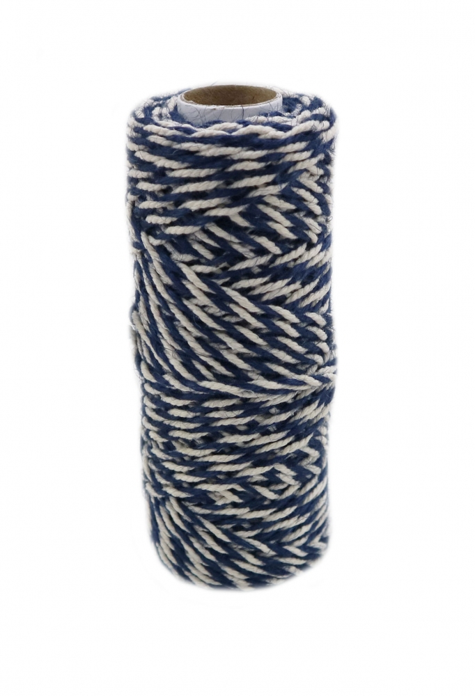 Jute+cotton cord, blue-white color, 50 meters
