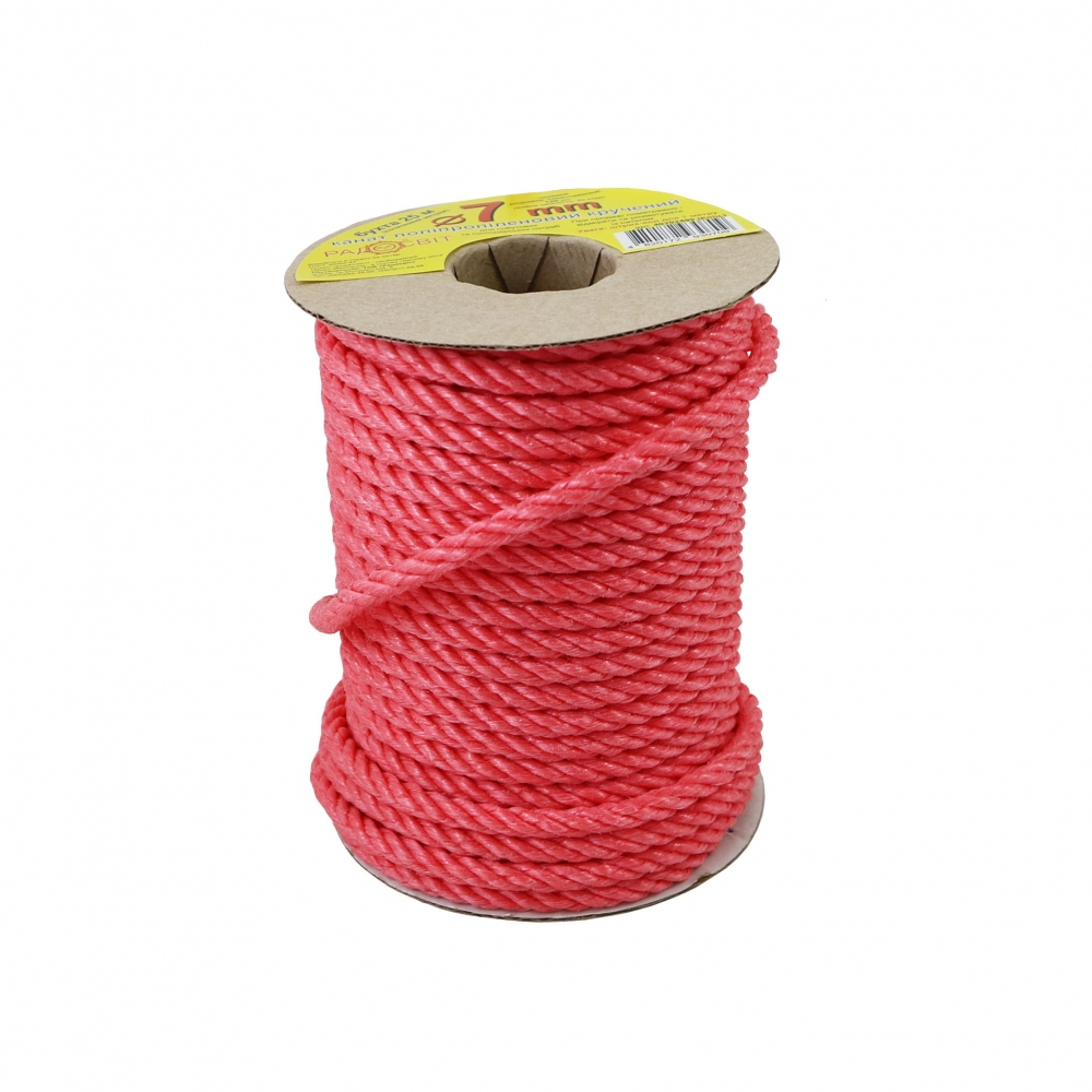 Polypropylene rope diameter 7mm red, 25 meters