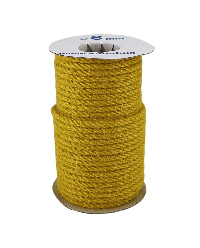 Jute rope in yellow color, diameter 6 mm, 25 meters