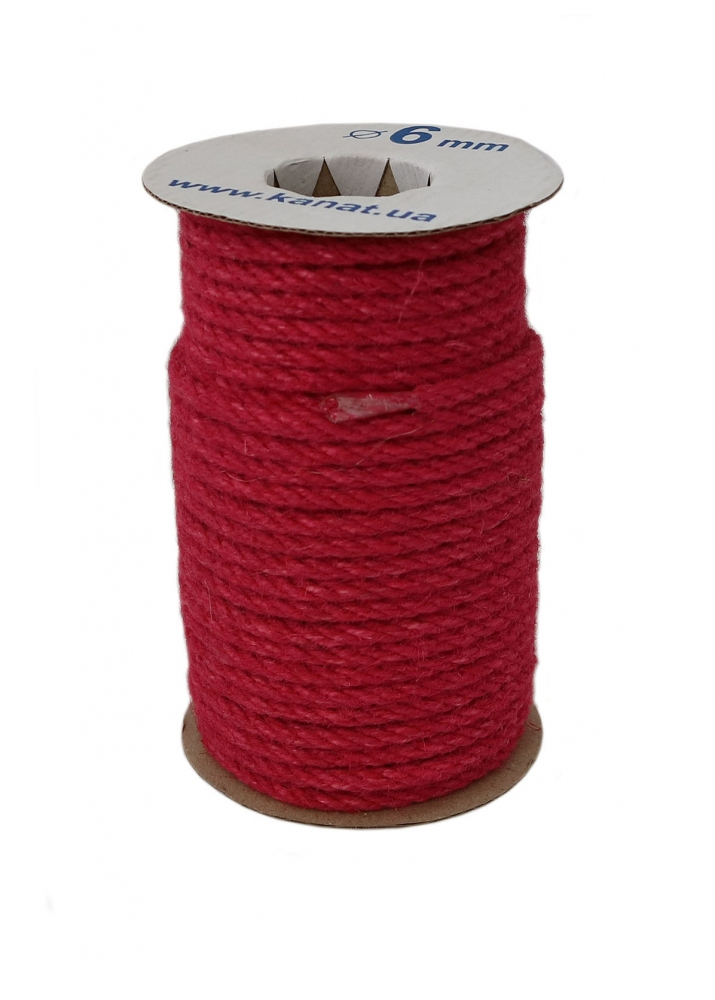 Jute rope rose color, diameter 6mm, 25 meters coil