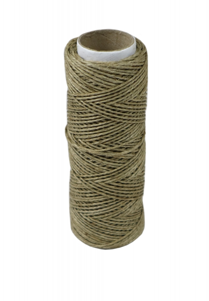 Polished linen twine, natural color, 50 meters