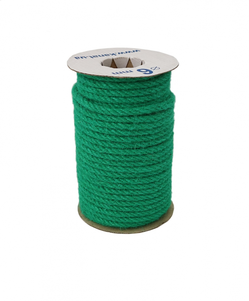 Jute rope in cyan color, diameter 6mm, 25 meters