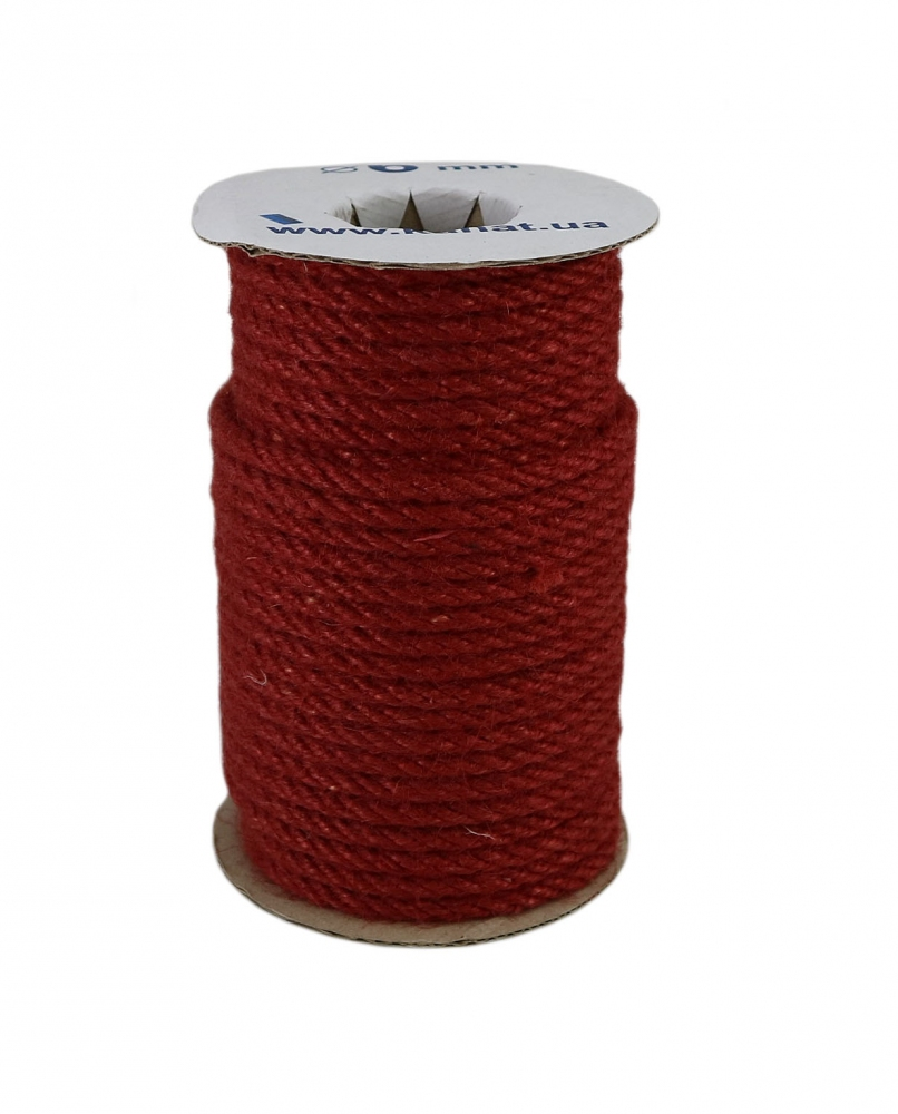 Jute rope, red color, diameter 6mm, 25 meters