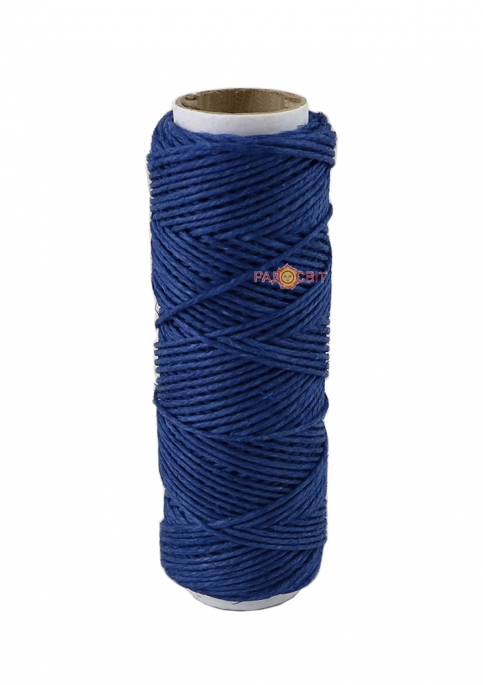Polished linen twine, blue color, 35 meters