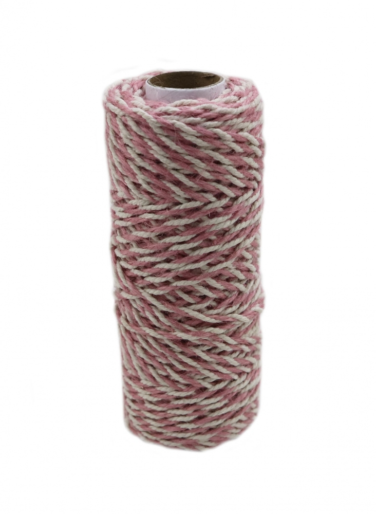 Jute+cotton cord, sweet powder-white color, 50 meters
