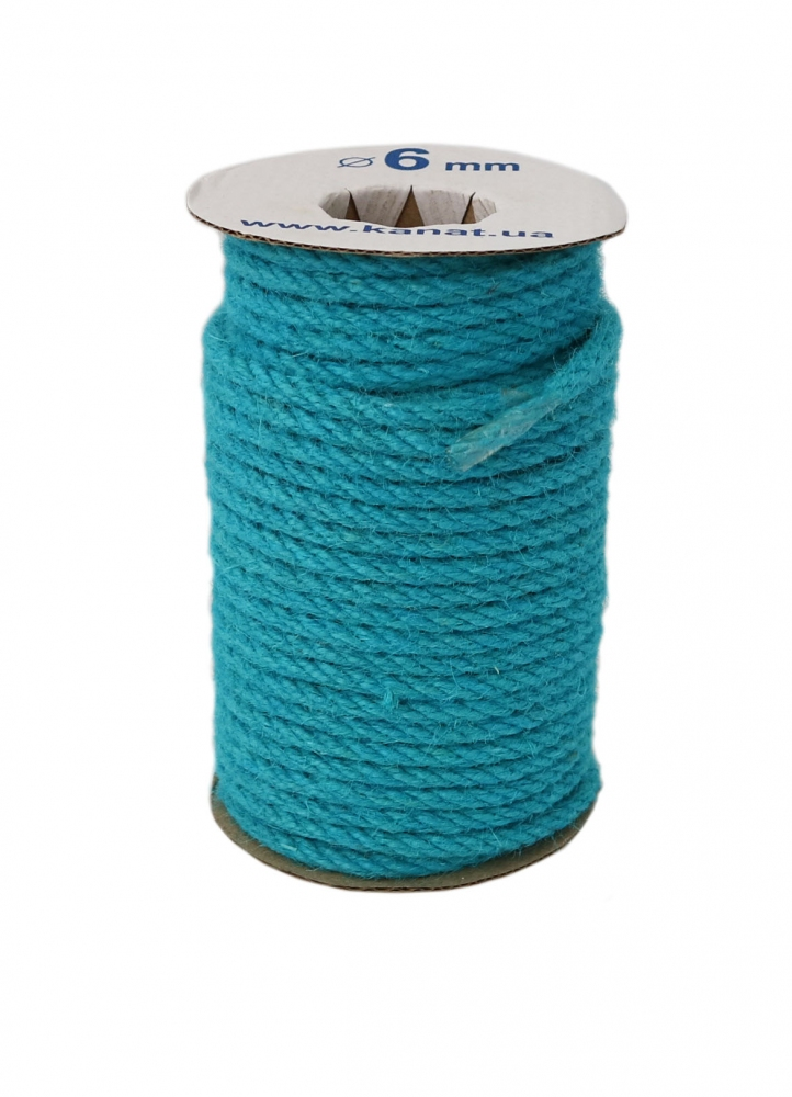 Jute rope, light blue color, diameter 6mm, coil 25 meters