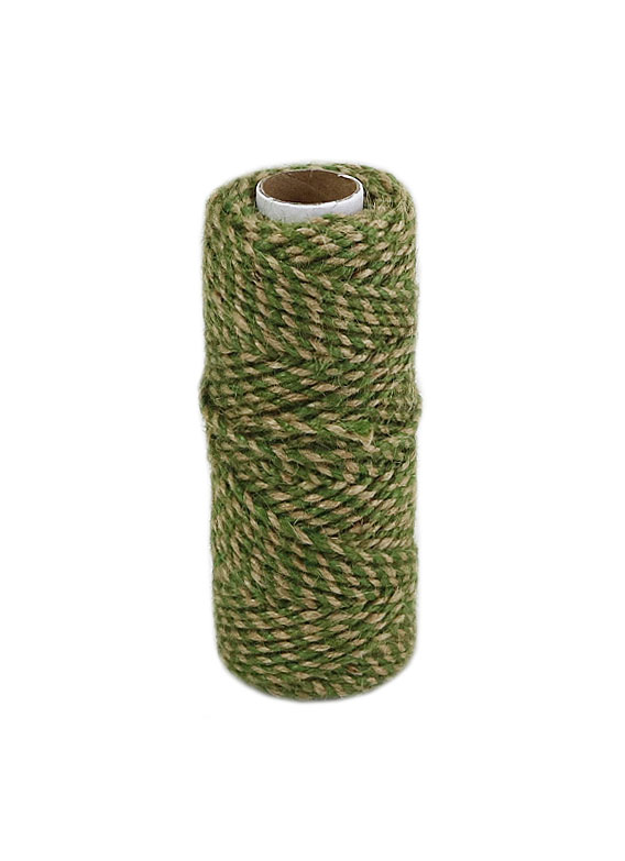 Jute cord natural-green, 50 meters