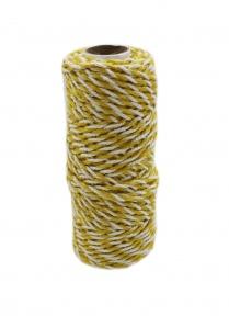 Шнур джут-бавовна жовтий-білий, 50 метрів
