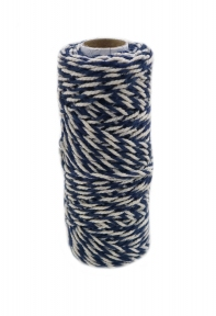 Jute+cotton cord, blue-white color, 50 meters - 17593