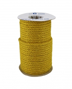 Jute rope in yellow color, diameter 6 mm, 25 meters - 17462