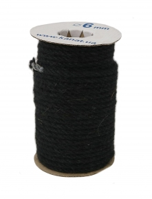 Jute rope in black color, pure jute yarn, diameter 6mm, 25 meters in coil - 17494