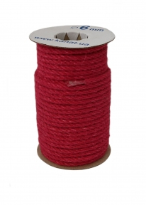 Jute rope rose color, diameter 6mm, 25 meters coil - 17490
