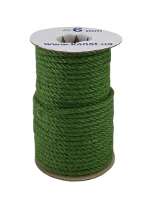 Jute rope, green color, diameter 6mm, 25 meters